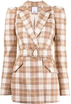 Acler Plaid-Check Belted Blazer