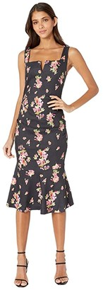 Nicole Miller Dawn Stretch Linen Midi Dress (Black Multi) Women's Dress
