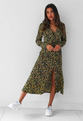 Missguided Tall Yellow Floral Long Sleeve Midi Dress