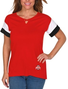 Lids Ug Apparel Women's Ohio State Buckeyes Crisscross Colorblocked T-Shirt