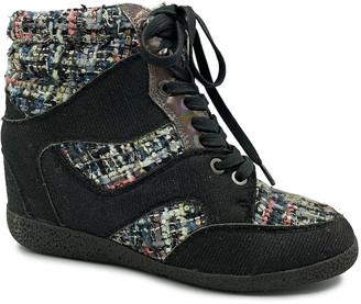 Bamboo Women's Sneakers BLACK - Black Tweed Contrast Bethany Hi-Top Sneaker - Women