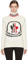 Moncler Gamme Rouge White Cashmere Logo Turtleneck
