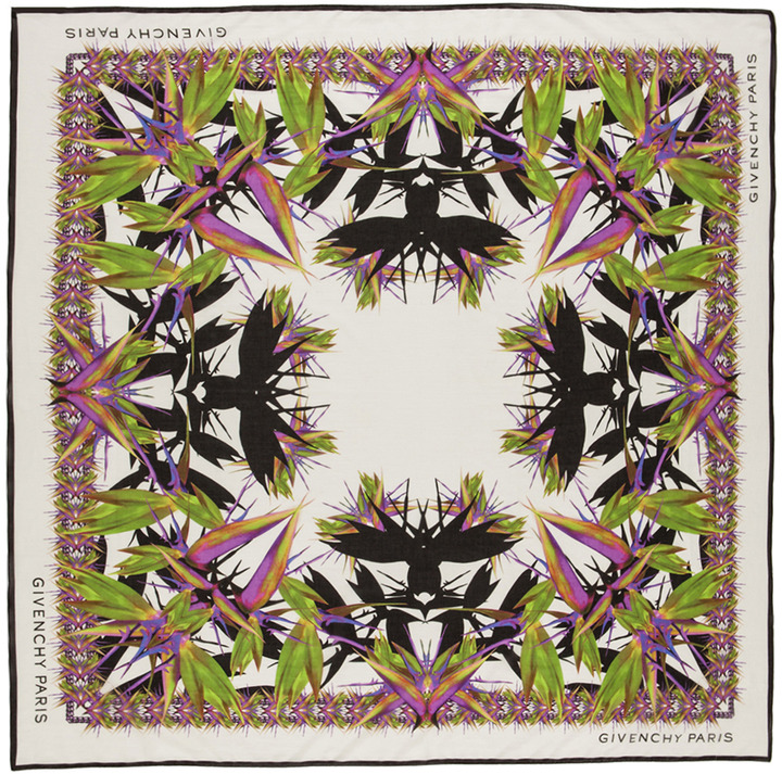 Givenchy Shaded Paradise Flowers Scarf in White
