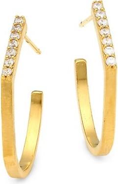 Dean Davidson Mini Spire 22K Goldplated Pave-Trimmed Hoop Earrings