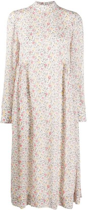 Ganni Floral Print Long-Sleeve Dress
