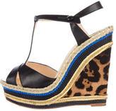 Christian Louboutin T-Strap Platform Wedge Sandals