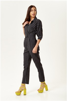 Liquorish Black and White Striped Jumpsuit with Bat Sleeves