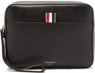 Thom Browne Grained-leather Wash Bag - Black