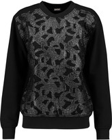 DKNY Faux leather and mesh-paneled cotton-blend jersey sweatshirt