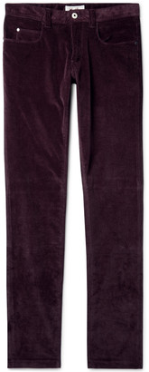 Loro Piana Slim-Fit Stretch-Cotton Corduroy Trousers - Men - Burgundy