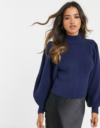 Asos Design DESIGN chunky rib jumper with volume sleeve-Navy