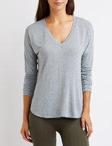 Charlotte Russe Drop Shoulder V-Neck Tee
