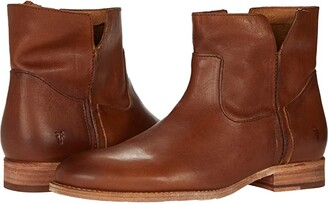 Frye Melissa Slouch Bootie (Tan Sun-Washed Leather) Women's Boots