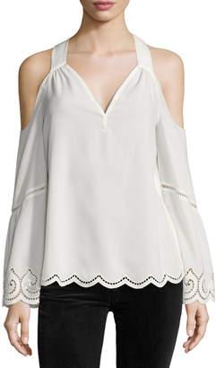 Ramy Brook Drew Cold-Shoulder Lace-Trim Top, Ivory