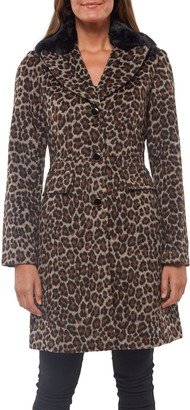 Kate Spade Animal Print Coat With Removable Faux Fur Trim