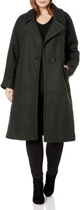 Rachel Roy Women's Plus Size Notch Collar Wool Coat
