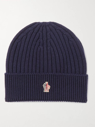 MONCLER GRENOBLE Logo-Appliqued Ribbed Virgin Wool Beanie