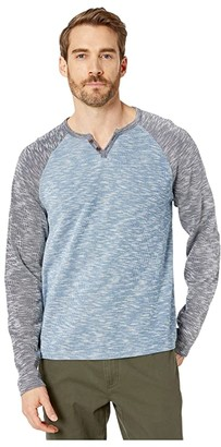 Lucky Brand Long Sleeve Color Block Button Notch Top (Blue Multi) Men's Clothing