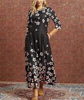 Reborn Collection Women's Maxi Dresses black - Black Floral Maxi Dress - Women & Plus