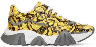 Versace Baroque Print Leather Sneakers