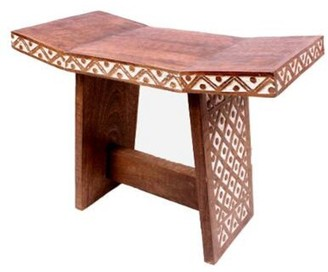 Bungalow Rose Poire Solid Wood Accent Stool