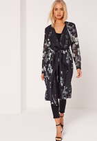 Missguided Floral Print Waterfall Duster Jacket Black