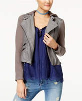 American Rag Juniors' Hooded Contrast & Faux-Leather Moto Jacket, Created for Macy's