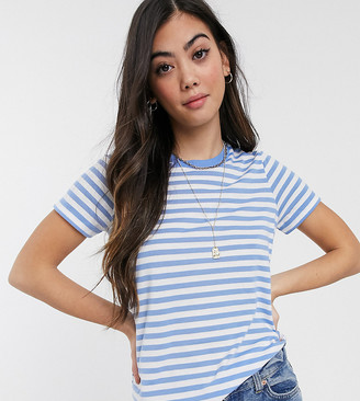 Asos DESIGN Petite ultimate crew neck t-shirt in blue stripe