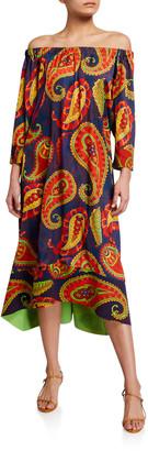 Chiara Boni Off-The-Shoulder Paisley Printed Caftan Dress