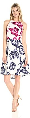 Maggy London Women's Drapey Linen Sketch Blossom High Low Fit and Flare