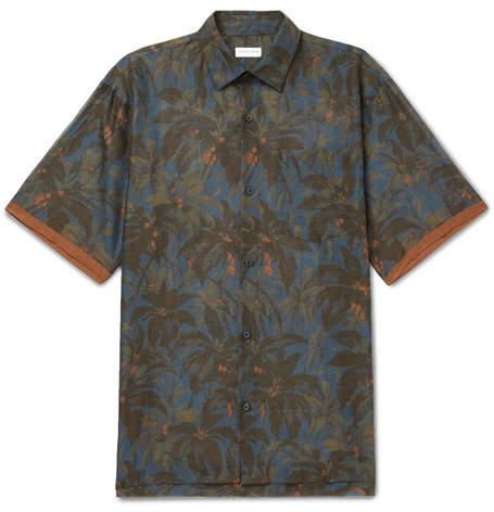 Dries Van Noten Cohen Oversized Contrast-Tipped Printed Cotton Shirt