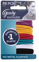 Goody Ouchless No Metal Hair Elastics,2 mm, 36 Count