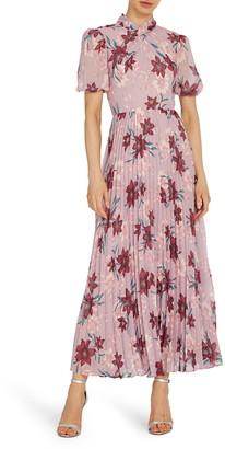 ML Monique Lhuillier Floral Midi Cocktail Dress