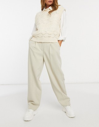 Pimkie relaxed tailored trousers in beige