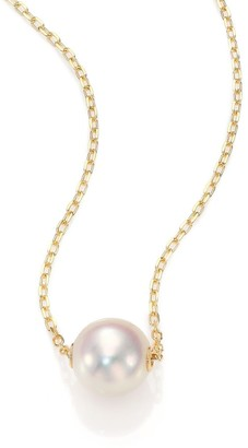 Mikimoto 8MM White Cultured Akoya Pearl & 18K Yellow Gold Pendant Necklace