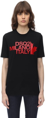 DSQUARED2 Printed Renny Fit Cotton Jersey T Shirt