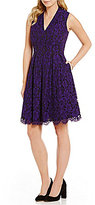 Vince Camuto V-Neck Sleeveless Solid Lace Dress
