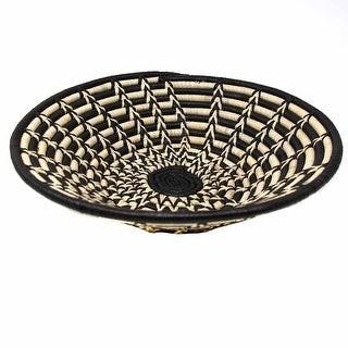 Global Crafts Handmade Woven Sisal Basket, Feathered Monochrome Pattern