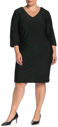 Junarose Jrsakina Metallic 3/4 Sleeve Dress (Plus Size)