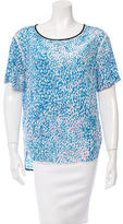 Sandro Printed Silk Short Sleeve Blouse