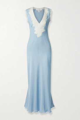 Loretta Caponi Lace-trimmed Silk-georgette Nightdress - Blue