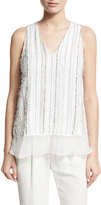 Brunello Cucinelli Monili-Stripe Textured V-Neck Tank, White