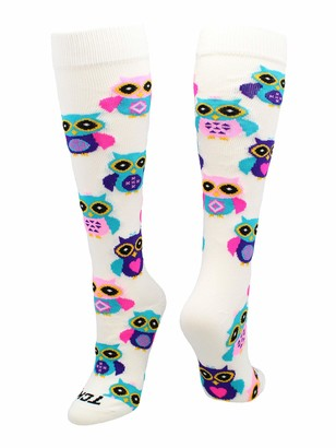 TCK Krazisox Owl Socks Over The Calf (White Medium)