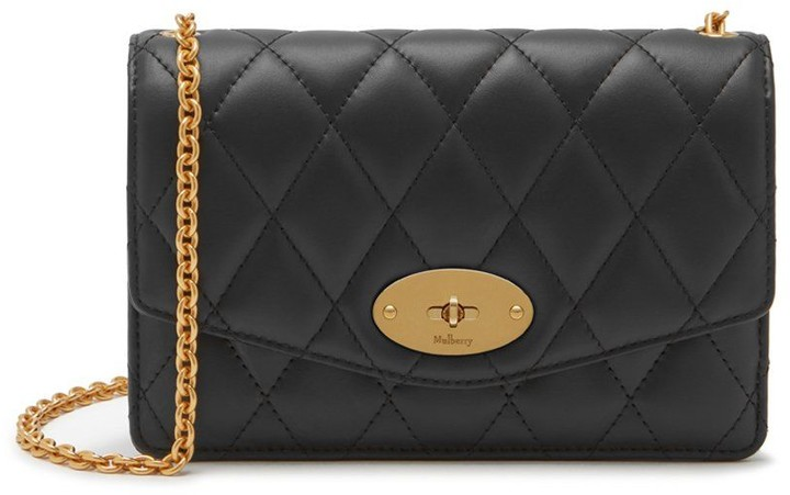 Mulberry Small Darley Black Quilted Smooth Calf
