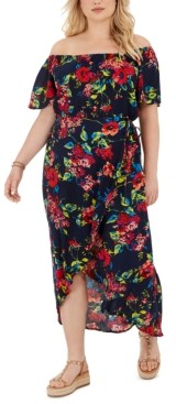 Band of Gypsies Trendy Plus Size Off-The-Shoulder Floral-Print High-Low Dress