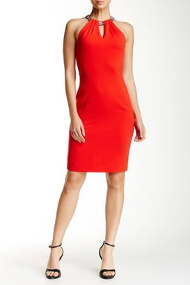 Carmen Marc Valvo Keyhole Choker Sheath Dress