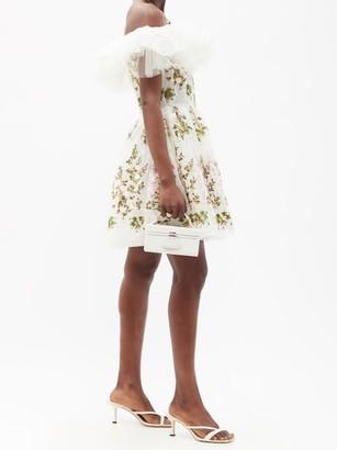 Giambattista Valli Off-the-shoulder Floral-tulle Mini Dress - White Multi