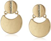 "Kenneth Cole New York Highlines"" Pave Double Disc Drop Earrings"