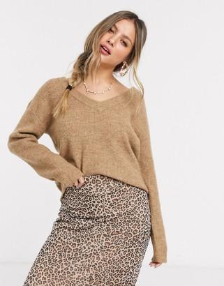 Pieces Ella v neck wool jumper in brown