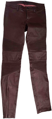 J Brand Burgundy Leather Trousers